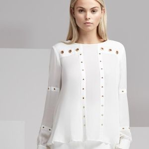Finders Keepers white maddox long sleeve top